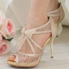 Femmes Mesh Talon stiletto À bout ouvert Plateforme Sandales Beach Wedding Shoes avec Bowknot