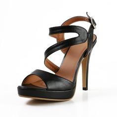 Leatherette Cone Heel Sandals Platform Peep Toe Slingbacks shoes