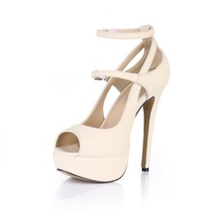 Women's Patent Leather Stiletto Heel Sandals Platform Peep Toe With Buckle shoes