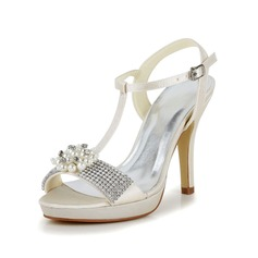 Women's Satin Stiletto Heel Pumps Sandals With Buckle Imitation Pearl Rhinestone