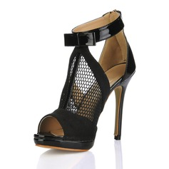 Patent Leather Stiletto Heel Sandals Peep Toe shoes