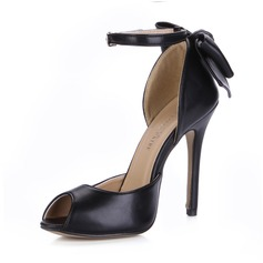 Leatherette Stiletto Heel Sandals Pumps Peep Toe With Bowknot Buckle shoes