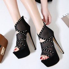 Women's Suede Stiletto Heel Boots Peep Toe Ankle Boots With Rivet Hollow-out shoes