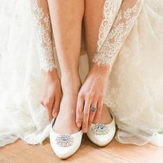 Femmes Satiné Talon plat Bout fermé Beach Wedding Shoes avec Strass
