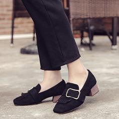 Femmes Suède Talon bas Chaussures plates avec Boucle Tassel chaussures