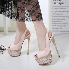Kvinnor PU Stilettklack Sandaler Pumps Plattform Peep Toe Slingbacks med Smycken Heel skor