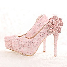 Women's Leatherette Stiletto Heel Closed Toe Platform Pumps With Rhinestone Flower Crystal