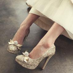 Femmes Pailletes scintillantes Talon stiletto Bout fermé Plateforme Beach Wedding Shoes avec Strass Cravate ruban