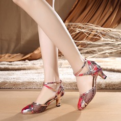 Women's Lace Heels Latin With Ankle Strap Dance Shoes