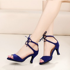 Women's Suede Heels Latin With Ankle Strap Lace-up Dance Shoes