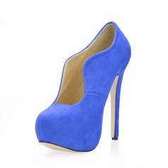 Suede Stiletto Heel Platform Closed Toe Ankle Boots shoes