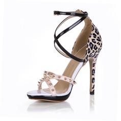Leatherette Stiletto Heel Sandals Pumps With Rivet Buckle shoes