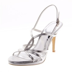 Leatherette Stiletto Heel Sandals Pumps Peep Toe With Rhinestone shoes
