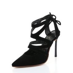 Dla kobiet Zamsz Obcas Stiletto Sandały Czólenka Bez Pięty Z Sznurowanie obuwie