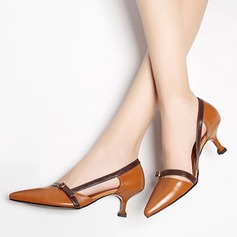 Women's Real Leather Kitten Heel Pumps Closed Toe With Hollow-out shoes