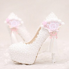 Women's Leatherette Stiletto Heel Closed Toe Platform Pumps With Imitation Pearl Flower Tassel