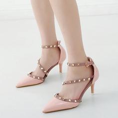 Women's PU Stiletto Heel Pumps Closed Toe With Rivet shoes