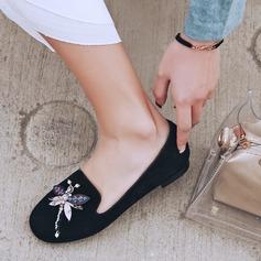 Frauen Veloursleder Flascher Absatz Flache Schuhe mit Strass Schuhe