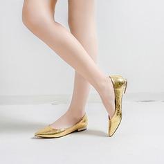 Frauen Kunstleder Flascher Absatz Flache Schuhe mit Tierdruckmuster Schmuckabsatz Schuhe