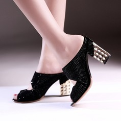 Women's Leatherette Chunky Heel Sandals Pumps With Hollow-out shoes