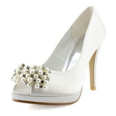 Women's Satin Cone Heel Peep Toe Platform Sandals With Imitation Pearl Rhinestone