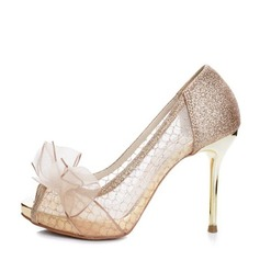 Dla kobiet Byszczący brokat Tkanina mesh Obcas Stiletto Otwarty Nosek Buta Platforma Beach Wedding Shoes Z Kokarda
