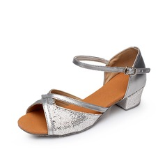 Women's Kids' Leatherette Heels Sandals Latin With Buckle Dance Shoes