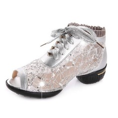 Women's Real Leather Sneakers Sneakers Practice With Lace-up Dance Shoes