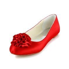 Women's Satin Flat Heel Closed Toe Flats With Satin Flower