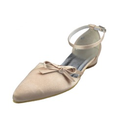 Women's Satin Flat Heel Closed Toe Flats With Buckle