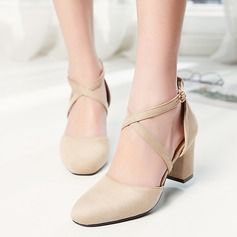 Women's Suede Chunky Heel Closed Toe With Others shoes