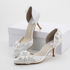 Women's Leatherette Stiletto Heel Closed Toe Pumps With Imitation Pearl Rhinestone Flower