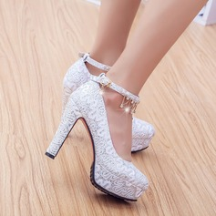 Women's Leatherette Chunky Heel With Imitation Pearl Sequin