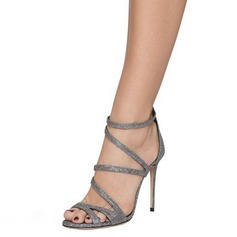 Femmes Pailletes scintillantes Talon stiletto Sandales Escarpins À bout ouvert avec Zip chaussures