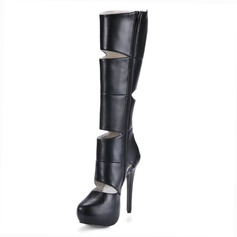 Leatherette Stiletto Heel Platform Closed Toe Knee High Boots With Hollow-out shoes