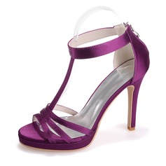 Women's Satin Stiletto Heel Peep Toe Platform Sandals With Zipper