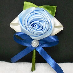 Elegant Round Ribbon/Artificial Silk Boutonniere/Men's Accessories