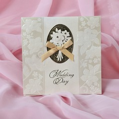 Floral Style Tri-Fold Invitation Cards With Bows (Set of 50)