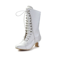 Women's Satin Chunky Heel Boots Closed Toe