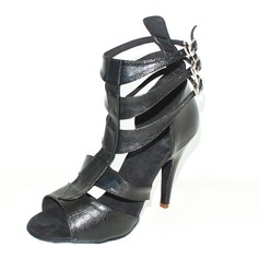 Women's Real Leather Heels Sandals Latin Ballroom With T-Strap Dance Shoes