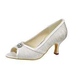Women's Satin Low Heel Peep Toe Sandals With Rhinestone