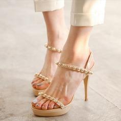 Femmes Cuir verni Talon stiletto À bout ouvert Plateforme Sandales Beach Wedding Shoes avec Perle d'imitation