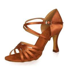 Donna Satinato Tacchi Sandali Latino Scarpe da ballo