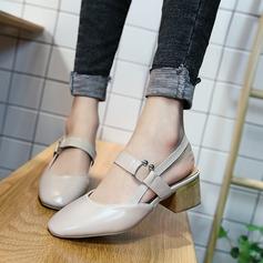 Femmes PU Talon bottier Sandales Bout fermé Escarpins avec Boucle chaussures