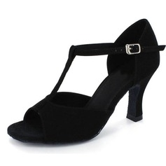 Women's Nubuck Heels Latin With T-Strap Dance Shoes