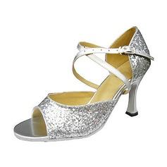 Donna Glitter scintillanti Tacchi Sandalo Latino con Listino alla caviglia Scarpe da ballo