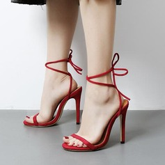 Women's Suede Leatherette Stiletto Heel Sandals Pumps Peep Toe Slingbacks With Lace-up shoes