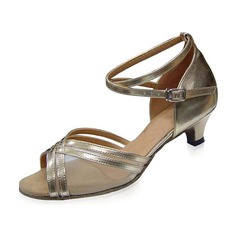 Women's Patent Leather Heels Sandals Latin With Ankle Strap Buckle Dance Shoes