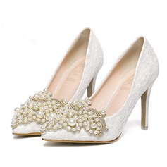Women's Lace Stiletto Heel Pumps With Imitation Pearl