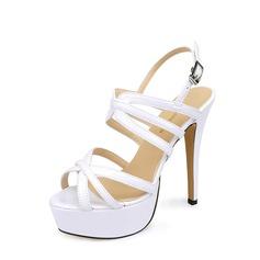 Dla kobiet Skóra Lakierowana Obcas Stiletto Sandały Czólenka Platforma Otwarty Nosek Buta Bez Pięty obuwie